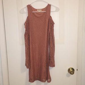 Medium coral lace long sleeved dress
